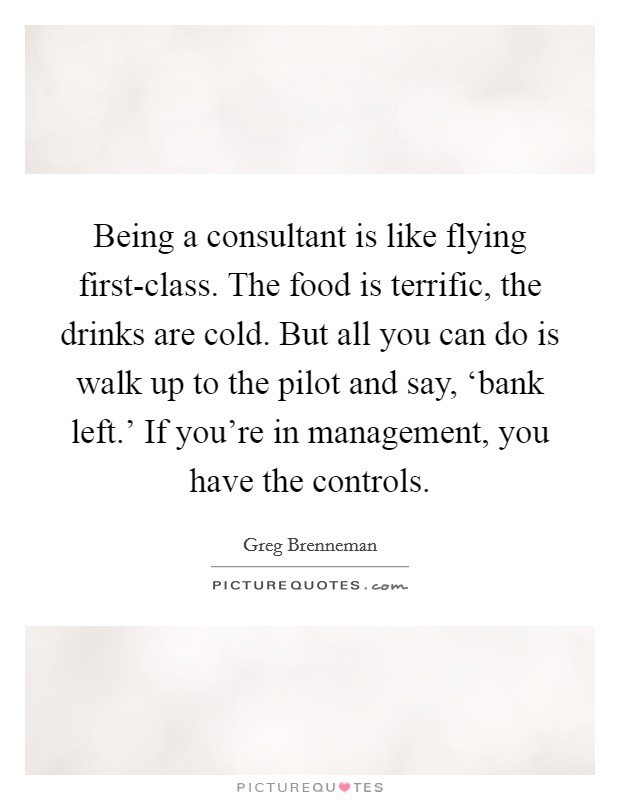 Being a consultant is like flying first-class. The food is terrific, the drinks are cold. But all you can do is walk up to the pilot and say, 'bank left.' If you're in management, you have the controls Picture Quote #1