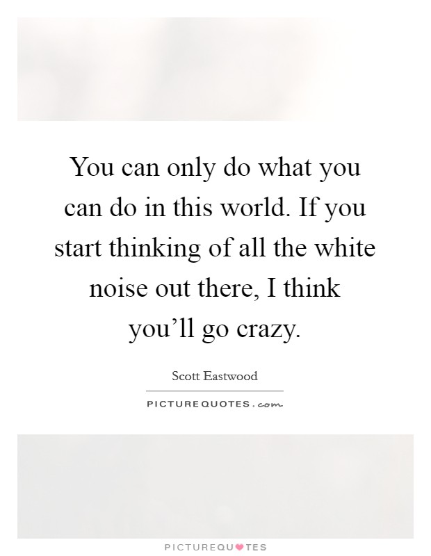 You can only do what you can do in this world. If you start thinking of all the white noise out there, I think you'll go crazy Picture Quote #1