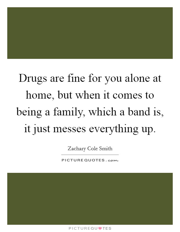 Drugs are fine for you alone at home, but when it comes to being a family, which a band is, it just messes everything up Picture Quote #1