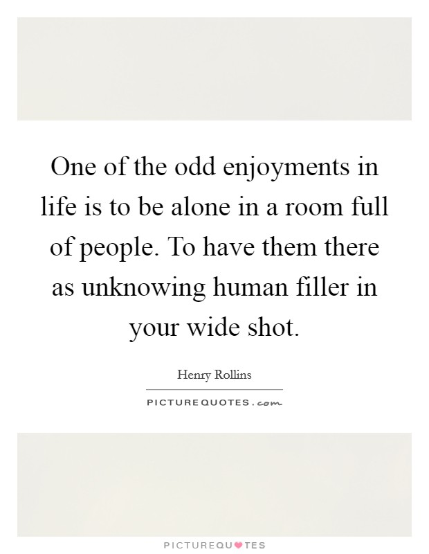 One of the odd enjoyments in life is to be alone in a room full of people. To have them there as unknowing human filler in your wide shot Picture Quote #1