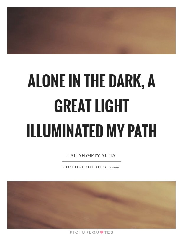 Alone in the dark, a great light illuminated my path Picture Quote #1