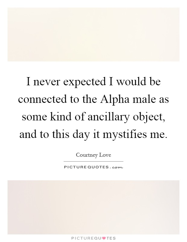I never expected I would be connected to the Alpha male as some kind of ancillary object, and to this day it mystifies me Picture Quote #1
