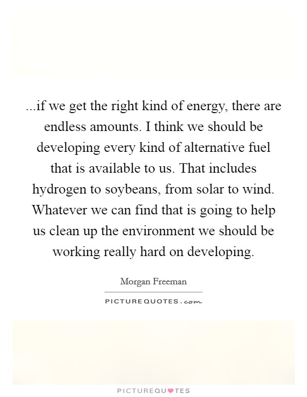 ...if we get the right kind of energy, there are endless amounts. I think we should be developing every kind of alternative fuel that is available to us. That includes hydrogen to soybeans, from solar to wind. Whatever we can find that is going to help us clean up the environment we should be working really hard on developing Picture Quote #1