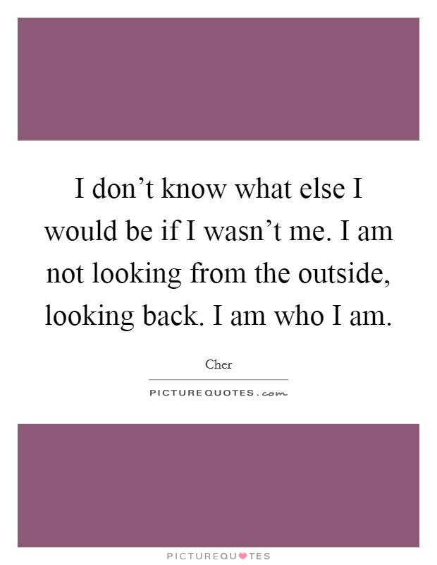 I don't know what else I would be if I wasn't me. I am not looking from the outside, looking back. I am who I am Picture Quote #1