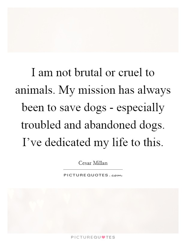 I am not brutal or cruel to animals. My mission has always been to save dogs - especially troubled and abandoned dogs. I've dedicated my life to this Picture Quote #1