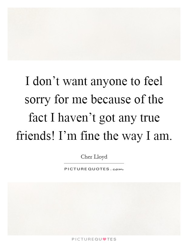 I don't want anyone to feel sorry for me because of the fact I haven't got any true friends! I'm fine the way I am. Picture Quote #1