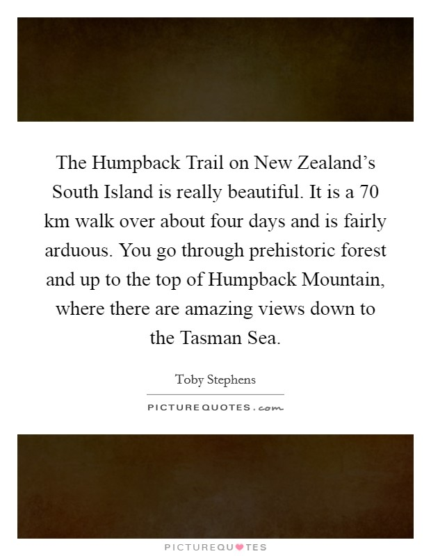 The Humpback Trail on New Zealand's South Island is really beautiful. It is a 70 km walk over about four days and is fairly arduous. You go through prehistoric forest and up to the top of Humpback Mountain, where there are amazing views down to the Tasman Sea Picture Quote #1