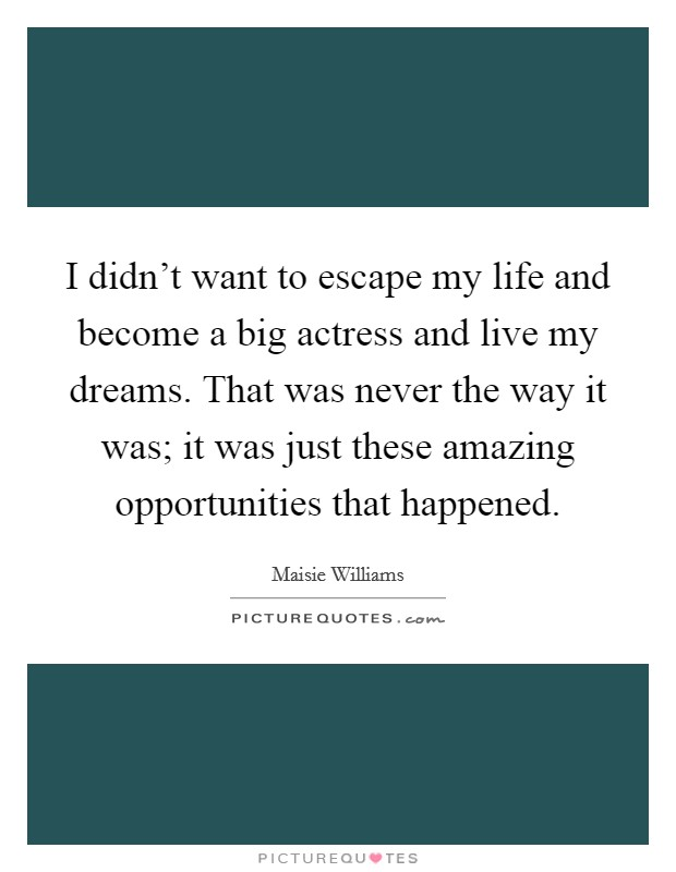 I didn't want to escape my life and become a big actress and live my dreams. That was never the way it was; it was just these amazing opportunities that happened Picture Quote #1