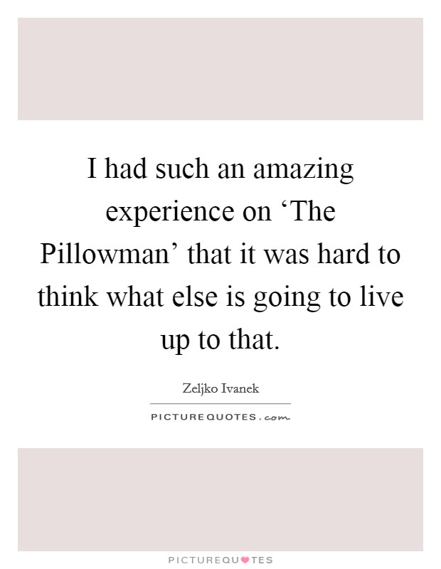 I had such an amazing experience on 'The Pillowman' that it was hard to think what else is going to live up to that Picture Quote #1