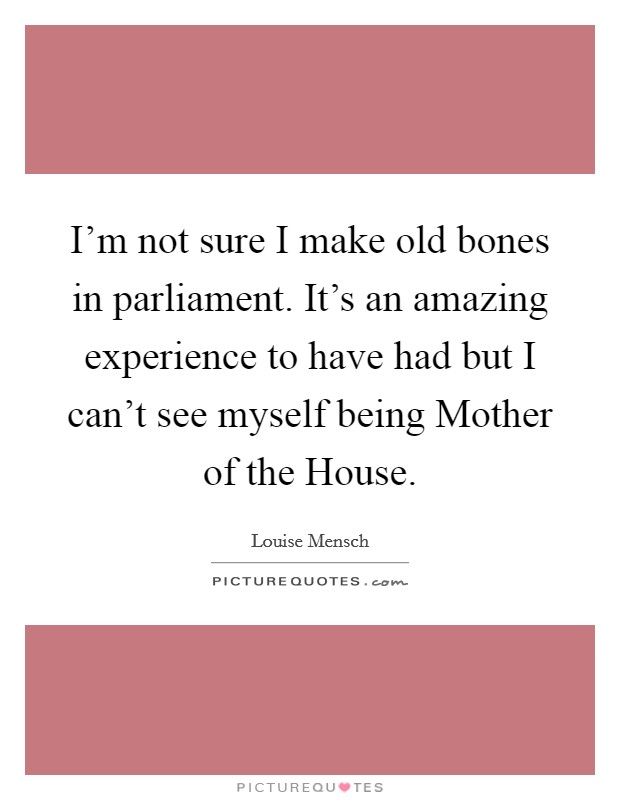 I'm not sure I make old bones in parliament. It's an amazing experience to have had but I can't see myself being Mother of the House Picture Quote #1