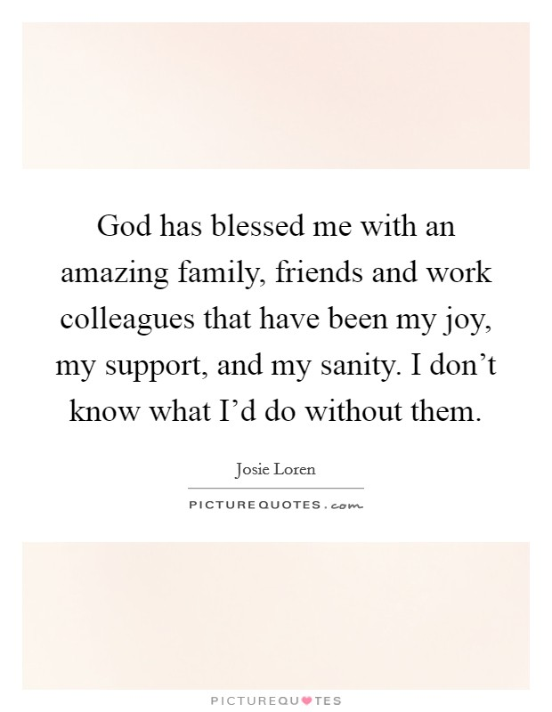 God has blessed me with an amazing family, friends and work colleagues that have been my joy, my support, and my sanity. I don't know what I'd do without them Picture Quote #1