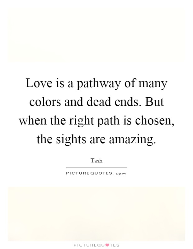 Love is a pathway of many colors and dead ends. But when the right path is chosen, the sights are amazing Picture Quote #1