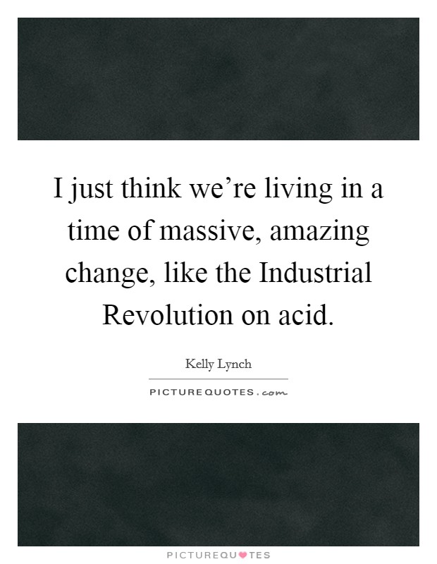 I just think we're living in a time of massive, amazing change, like the Industrial Revolution on acid Picture Quote #1