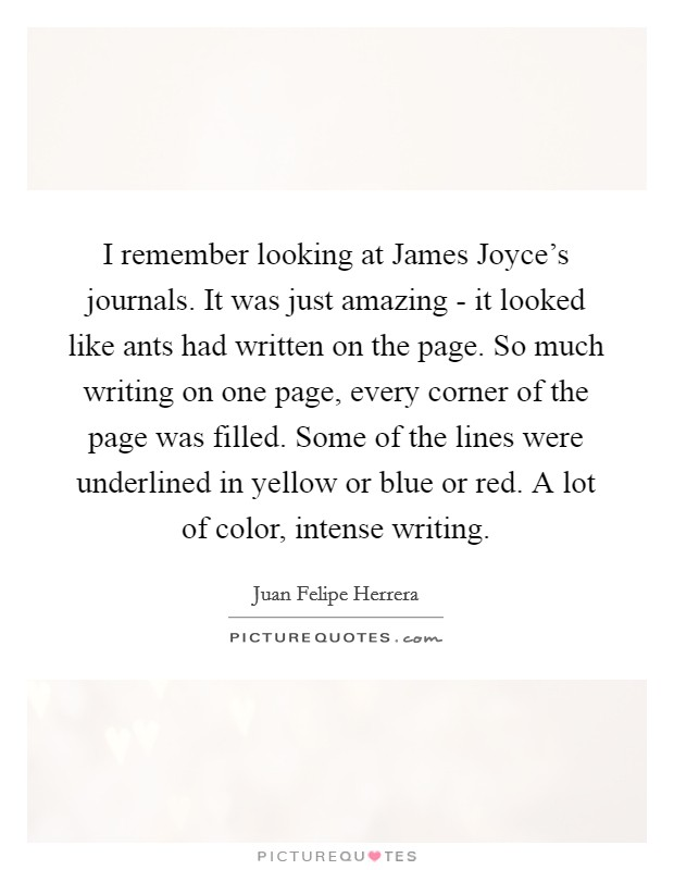 I remember looking at James Joyce's journals. It was just amazing - it looked like ants had written on the page. So much writing on one page, every corner of the page was filled. Some of the lines were underlined in yellow or blue or red. A lot of color, intense writing Picture Quote #1