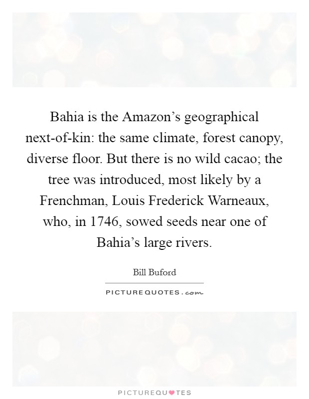 Bahia is the Amazon's geographical next-of-kin: the same climate, forest canopy, diverse floor. But there is no wild cacao; the tree was introduced, most likely by a Frenchman, Louis Frederick Warneaux, who, in 1746, sowed seeds near one of Bahia's large rivers Picture Quote #1