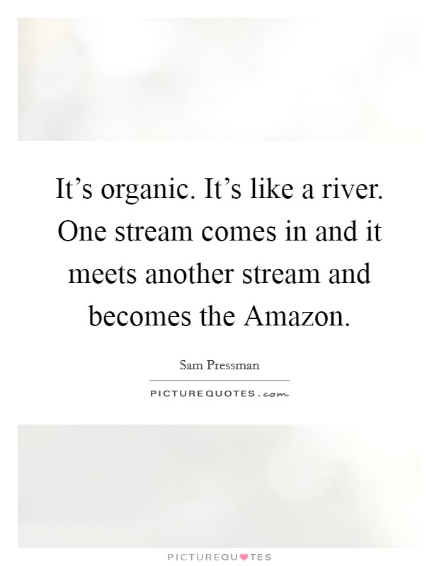 It's organic. It's like a river. One stream comes in and it meets another stream and becomes the Amazon Picture Quote #1