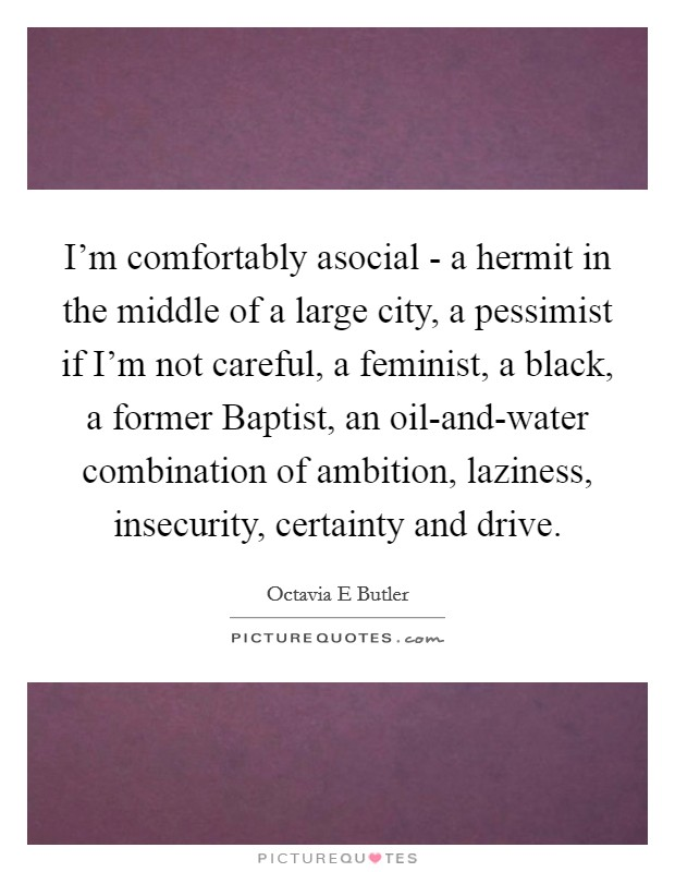 I'm comfortably asocial - a hermit in the middle of a large city, a pessimist if I'm not careful, a feminist, a black, a former Baptist, an oil-and-water combination of ambition, laziness, insecurity, certainty and drive Picture Quote #1