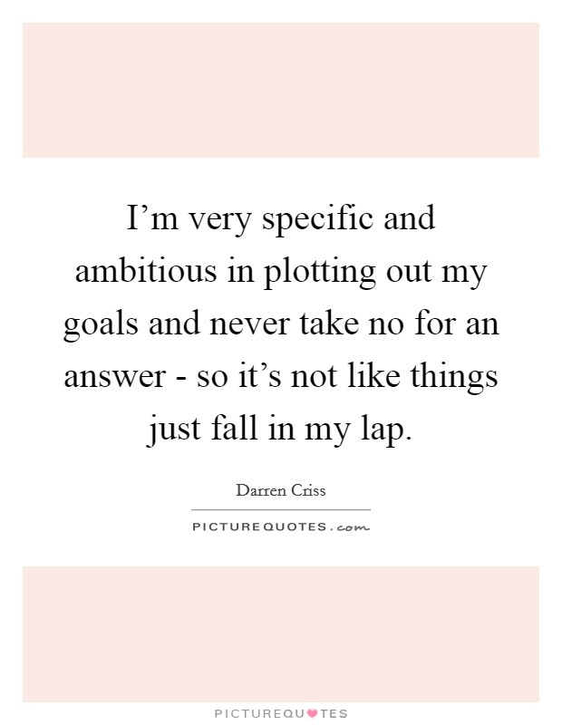 I'm very specific and ambitious in plotting out my goals and never take no for an answer - so it's not like things just fall in my lap Picture Quote #1