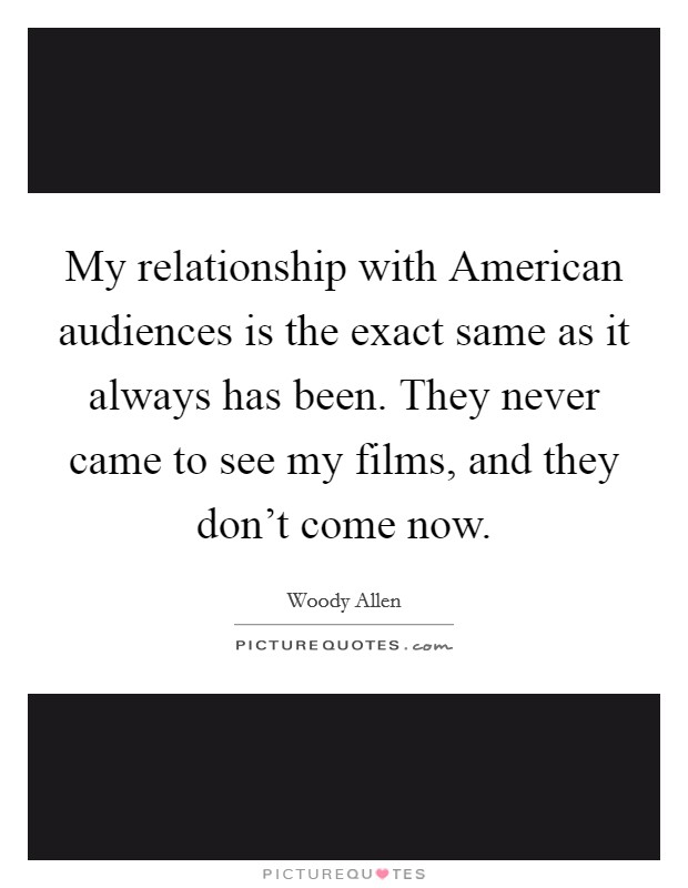 My relationship with American audiences is the exact same as it always has been. They never came to see my films, and they don't come now Picture Quote #1