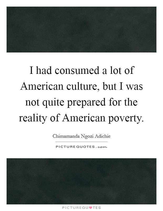 I had consumed a lot of American culture, but I was not quite prepared for the reality of American poverty Picture Quote #1