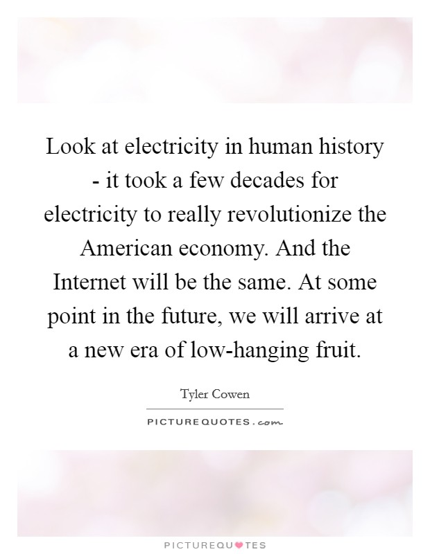 Look at electricity in human history - it took a few decades for electricity to really revolutionize the American economy. And the Internet will be the same. At some point in the future, we will arrive at a new era of low-hanging fruit Picture Quote #1