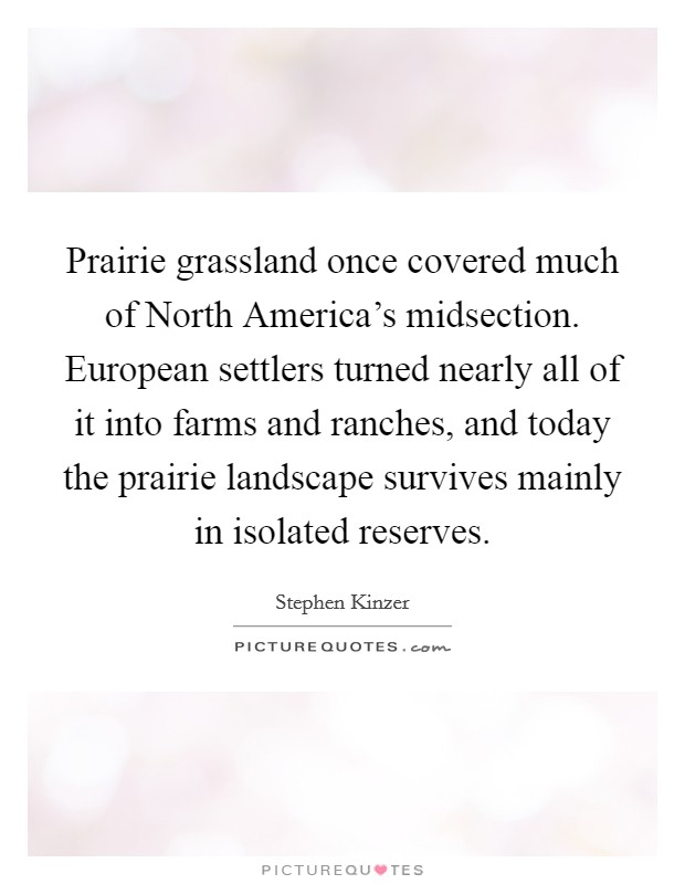Prairie grassland once covered much of North America's midsection. European settlers turned nearly all of it into farms and ranches, and today the prairie landscape survives mainly in isolated reserves Picture Quote #1