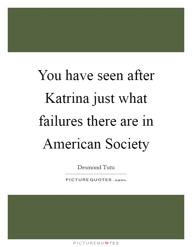You have seen after Katrina just what failures there are in American Society Picture Quote #1