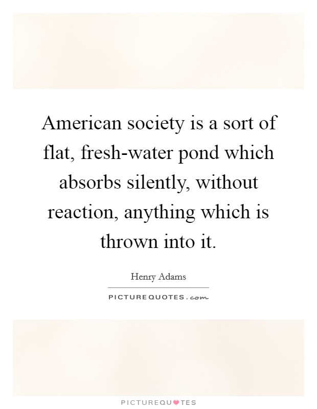 American society is a sort of flat, fresh-water pond which absorbs silently, without reaction, anything which is thrown into it Picture Quote #1