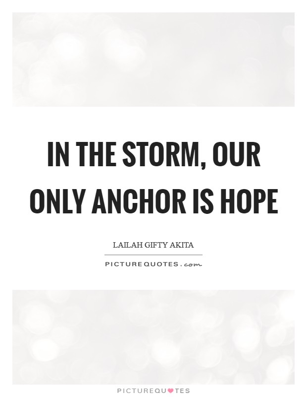 In the storm, our only anchor is hope Picture Quote #1