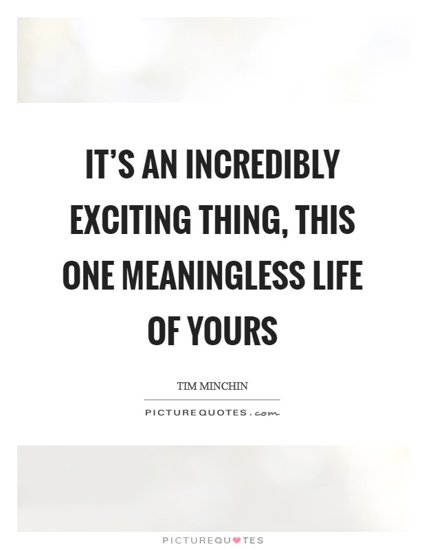 It's an incredibly exciting thing, this one meaningless life of yours Picture Quote #1