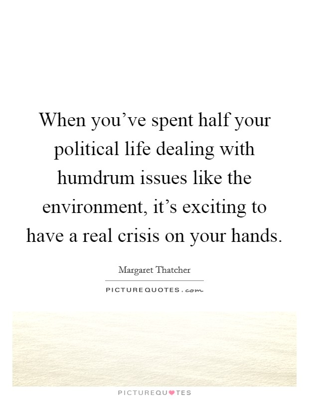 When you've spent half your political life dealing with humdrum issues like the environment, it's exciting to have a real crisis on your hands Picture Quote #1
