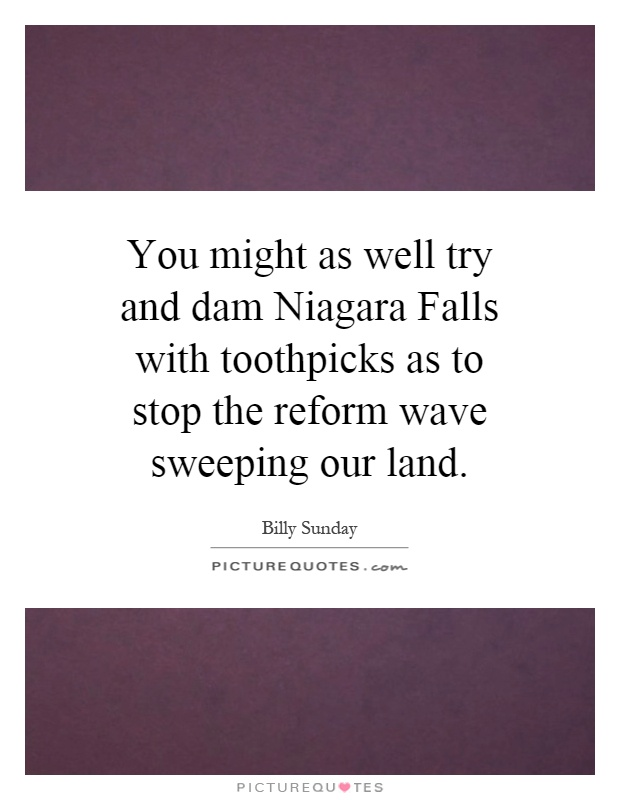You might as well try and dam Niagara Falls with toothpicks as to stop the reform wave sweeping our land Picture Quote #1