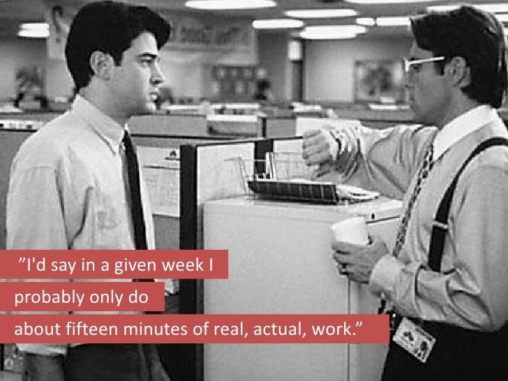 I'd say in a given week I probably only do about fifteen minutes of real, actual, work Picture Quote #1