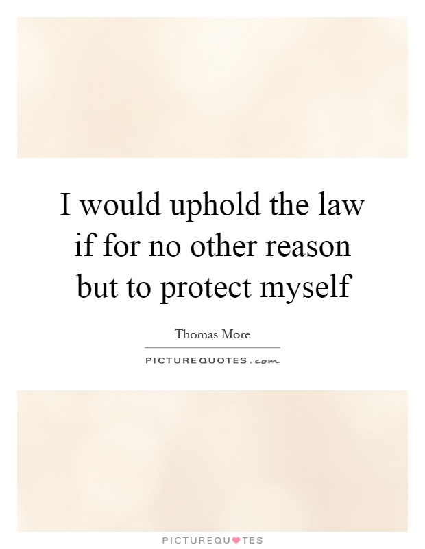 I would uphold the law if for no other reason but to protect myself Picture Quote #1