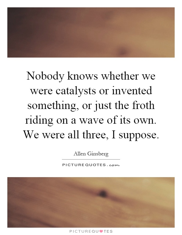 Nobody knows whether we were catalysts or invented something, or just the froth riding on a wave of its own. We were all three, I suppose Picture Quote #1