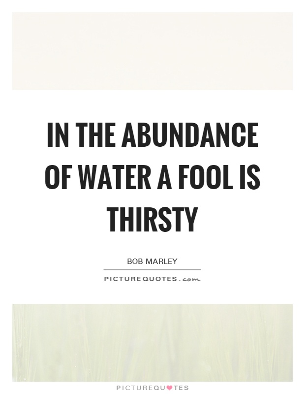 In the abundance of water a fool is thirsty Picture Quote #1