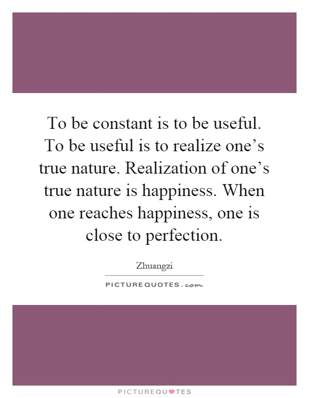 To be constant is to be useful. To be useful is to realize one's true nature. Realization of one's true nature is happiness. When one reaches happiness, one is close to perfection Picture Quote #1