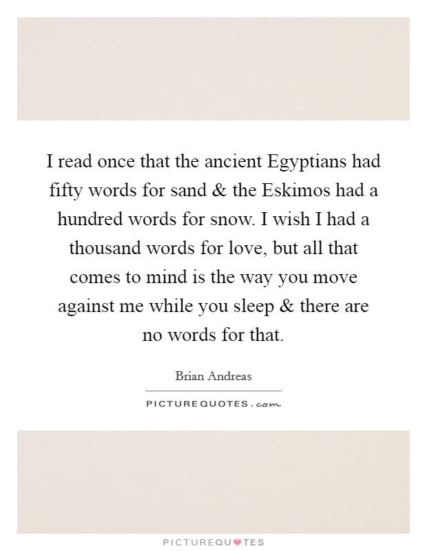 I read once that the ancient Egyptians had fifty words for sand and the Eskimos had a hundred words for snow. I wish I had a thousand words for love, but all that comes to mind is the way you move against me while you sleep and there are no words for that Picture Quote #1