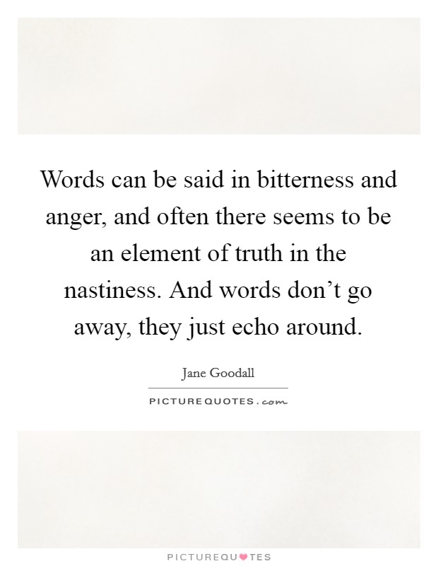 Words can be said in bitterness and anger, and often there seems to be an element of truth in the nastiness. And words don't go away, they just echo around Picture Quote #1