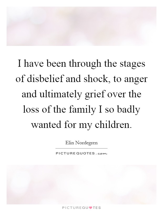 I have been through the stages of disbelief and shock, to anger and ultimately grief over the loss of the family I so badly wanted for my children Picture Quote #1