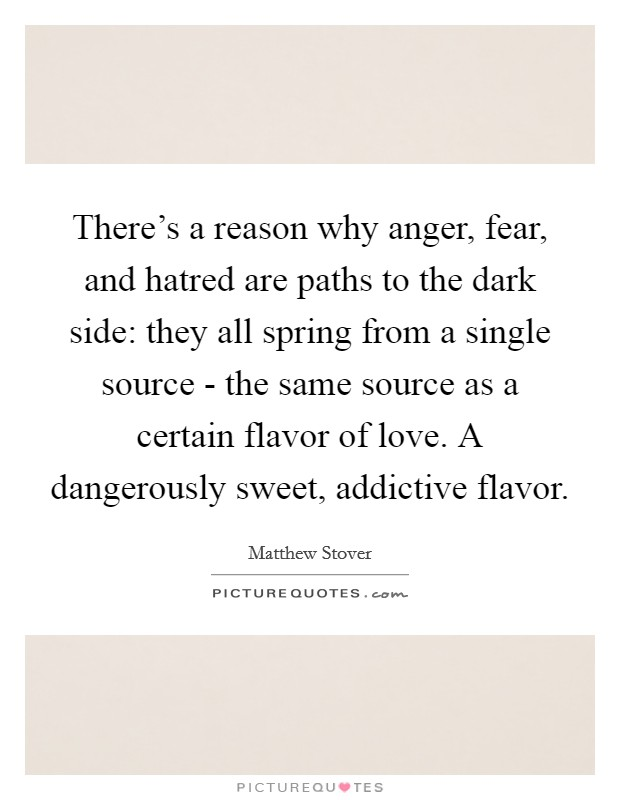 There's a reason why anger, fear, and hatred are paths to the dark side: they all spring from a single source - the same source as a certain flavor of love. A dangerously sweet, addictive flavor Picture Quote #1