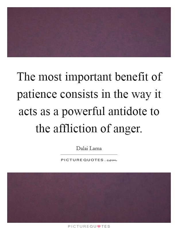 The most important benefit of patience consists in the way it acts as a powerful antidote to the affliction of anger Picture Quote #1