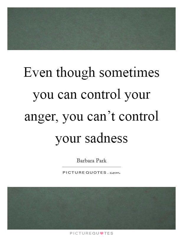 Even though sometimes you can control your anger, you can't control your sadness Picture Quote #1