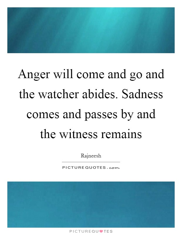 Anger will come and go and the watcher abides. Sadness comes and passes by and the witness remains Picture Quote #1