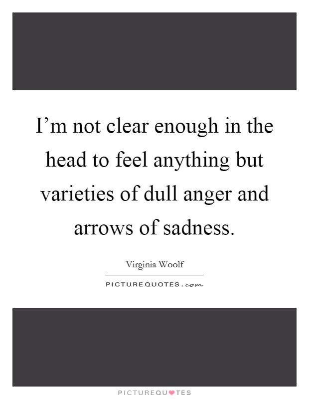 I'm not clear enough in the head to feel anything but varieties of dull anger and arrows of sadness Picture Quote #1