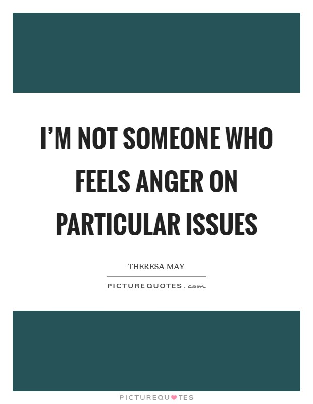 I'm not someone who feels anger on particular issues Picture Quote #1