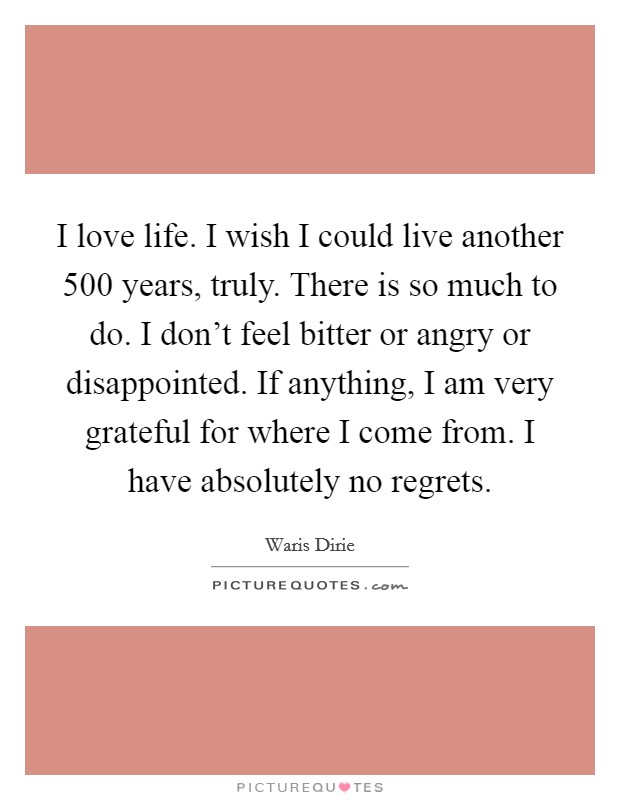 I love life. I wish I could live another 500 years, truly. There is so much to do. I don't feel bitter or angry or disappointed. If anything, I am very grateful for where I come from. I have absolutely no regrets Picture Quote #1