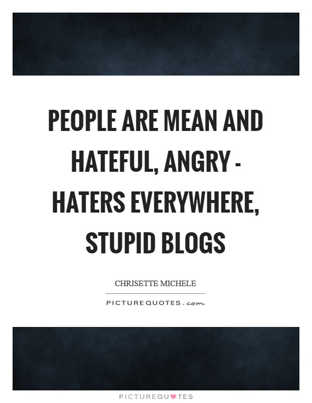 People are mean and hateful, angry - haters everywhere, stupid blogs Picture Quote #1