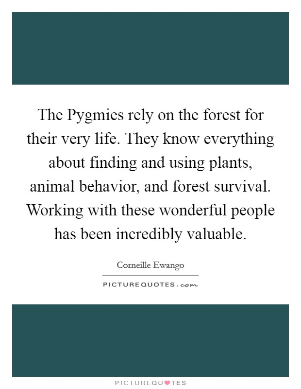 The Pygmies rely on the forest for their very life. They know everything about finding and using plants, animal behavior, and forest survival. Working with these wonderful people has been incredibly valuable Picture Quote #1
