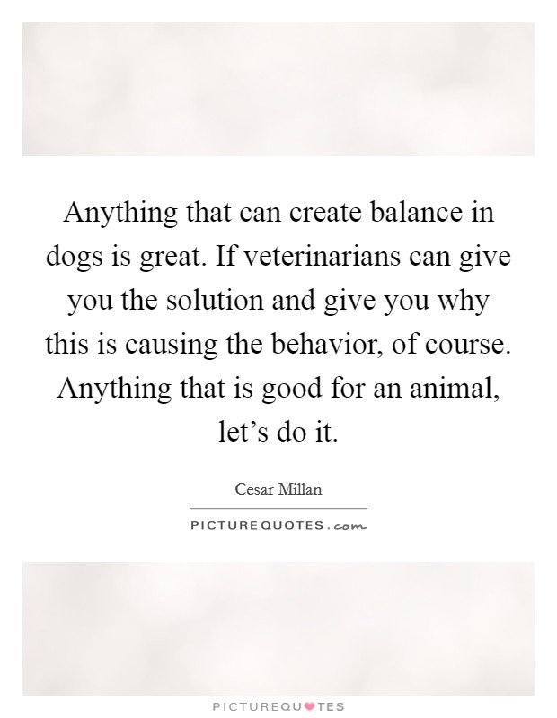 Anything that can create balance in dogs is great. If veterinarians can give you the solution and give you why this is causing the behavior, of course. Anything that is good for an animal, let's do it Picture Quote #1
